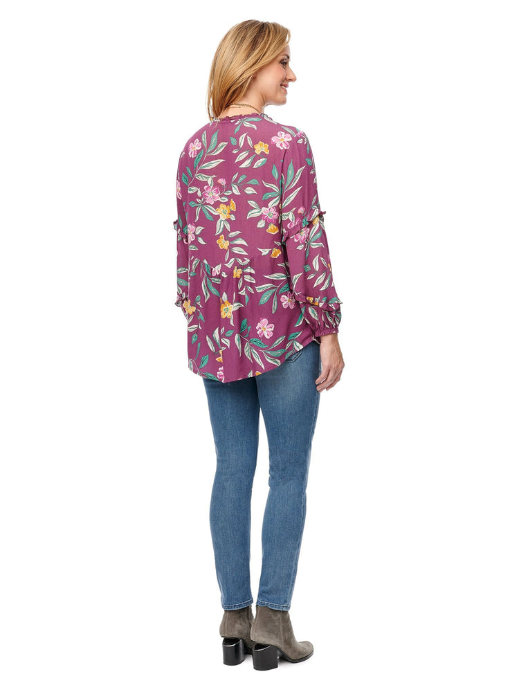 Ruffle Cascade Blouson Sleeve, V Neck Top