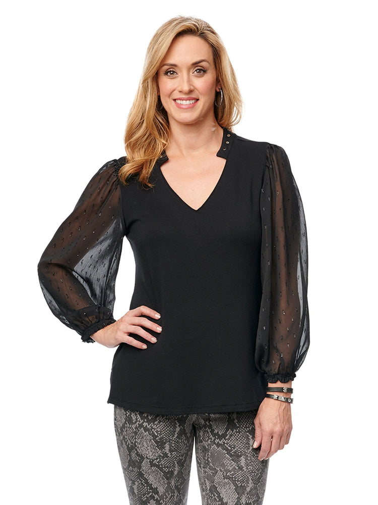 Sheer Lurex Detailed Long Blouson Sleeve Studded Collar V Neck Knit top