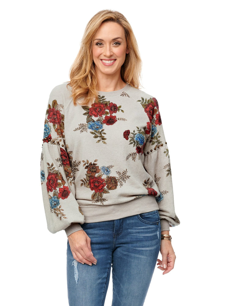 Blouson Floral Scoop Neck Raglan Sweatshirt