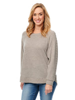 Super Soft Studded Long Sleeve Surplus Boatneck Brushed Sweater Knit Top