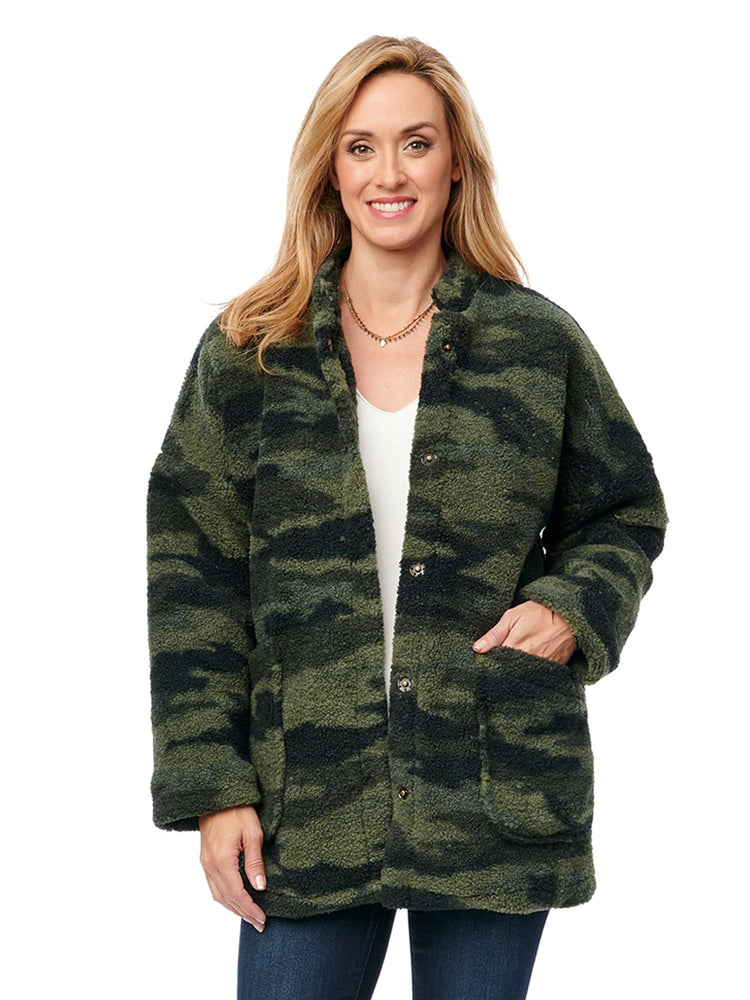 Long Sleeve Camo Coat with Stand Up Collar