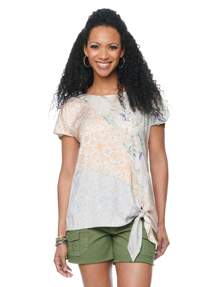 Short Sleeve Spliced Tropical Screen Print Side Tie Top