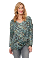 3/4 Sleeve V Neck Side Knot Leopard Top
