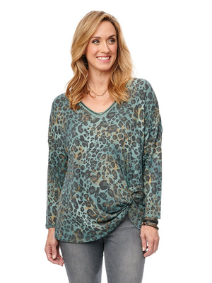 Load image into Gallery viewer, 3/4 Sleeve V Neck Side Knot Leopard Top