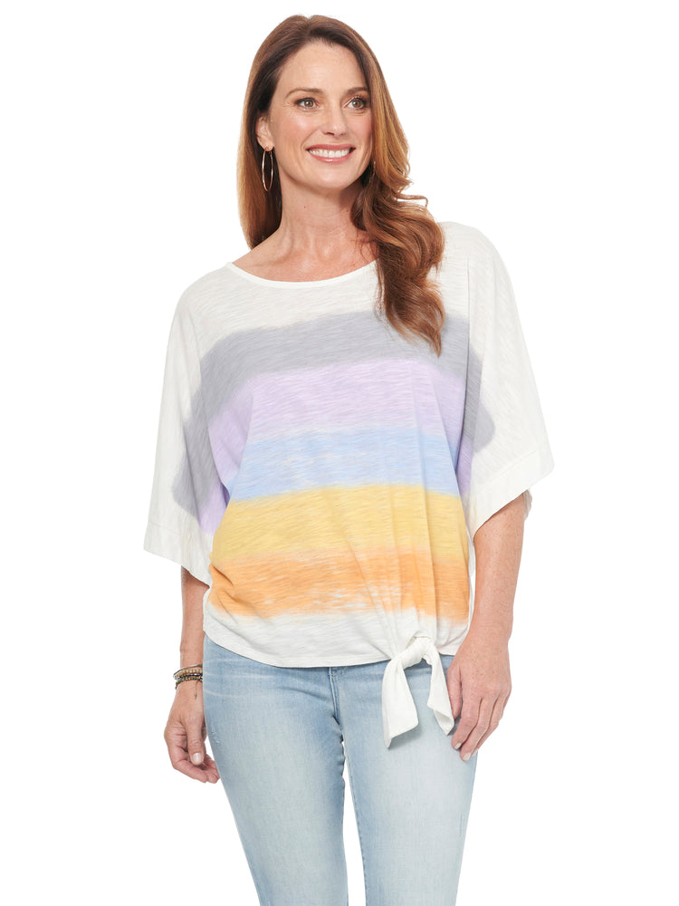 Load image into Gallery viewer, Striped Screened Boat Neck Knit Top