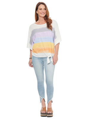 Striped Screened Boat Neck Knit Top