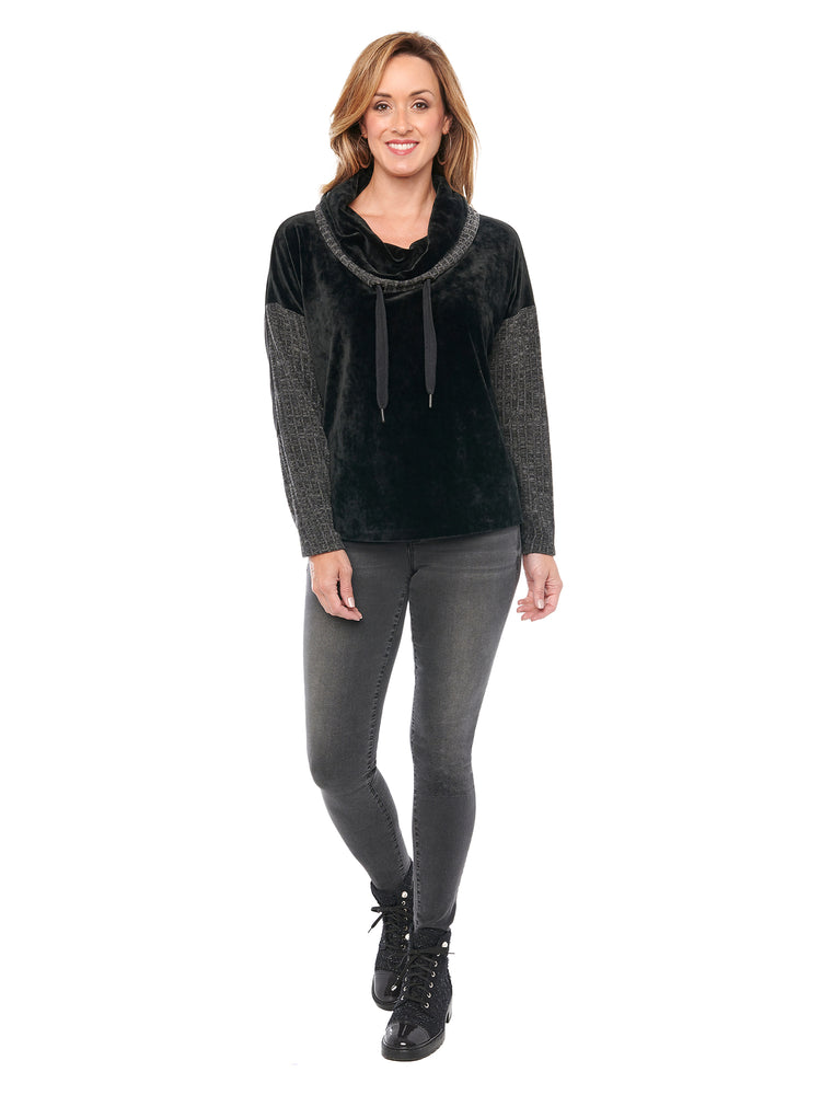 Load image into Gallery viewer, L/S Cowl Neck Velour Mixed Media Knit Top