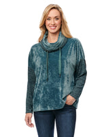 Long Sleeve Drawstring Cowl Neck Mixed Media Luxurious Velour Knit Top