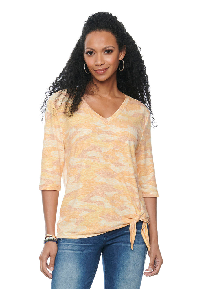 Elbow Sleeve V Neck Side Tie Ember Glow Yellow Camo Tee Shirt