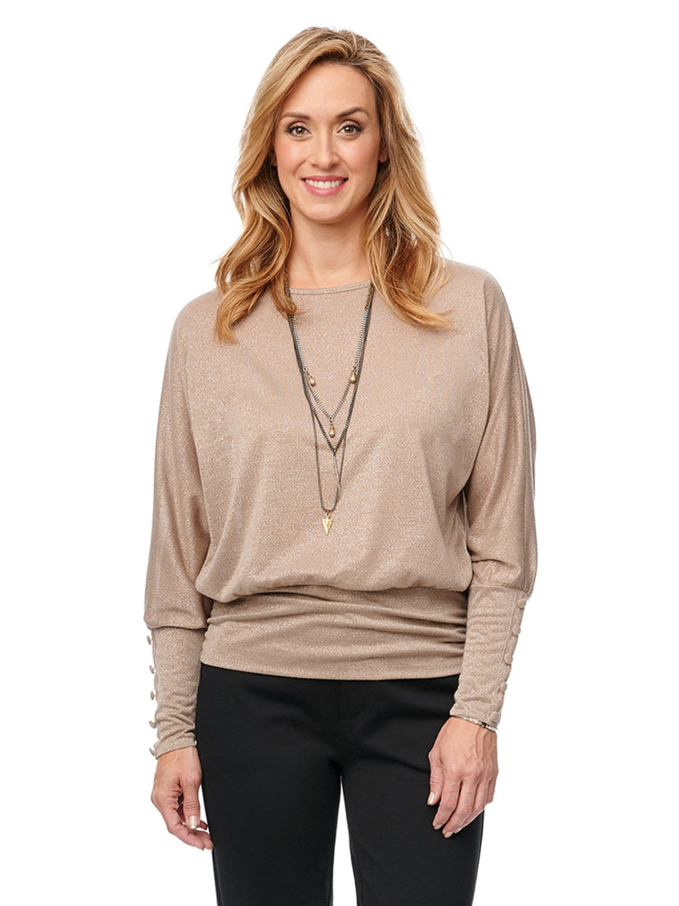 Long Blouson Sleeve Dolman Boatneck Banded Hem Rayon Lurex Knit Top