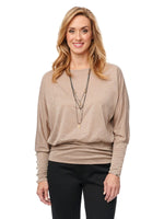 Blouson Sleeve Dolman Boatneck Rayon Lurex Knit Top