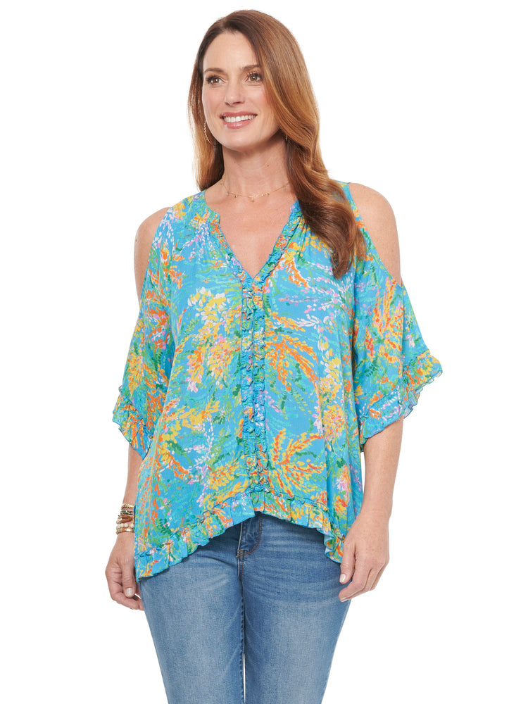 Cold Shoulder Ruffle Front Woven Top