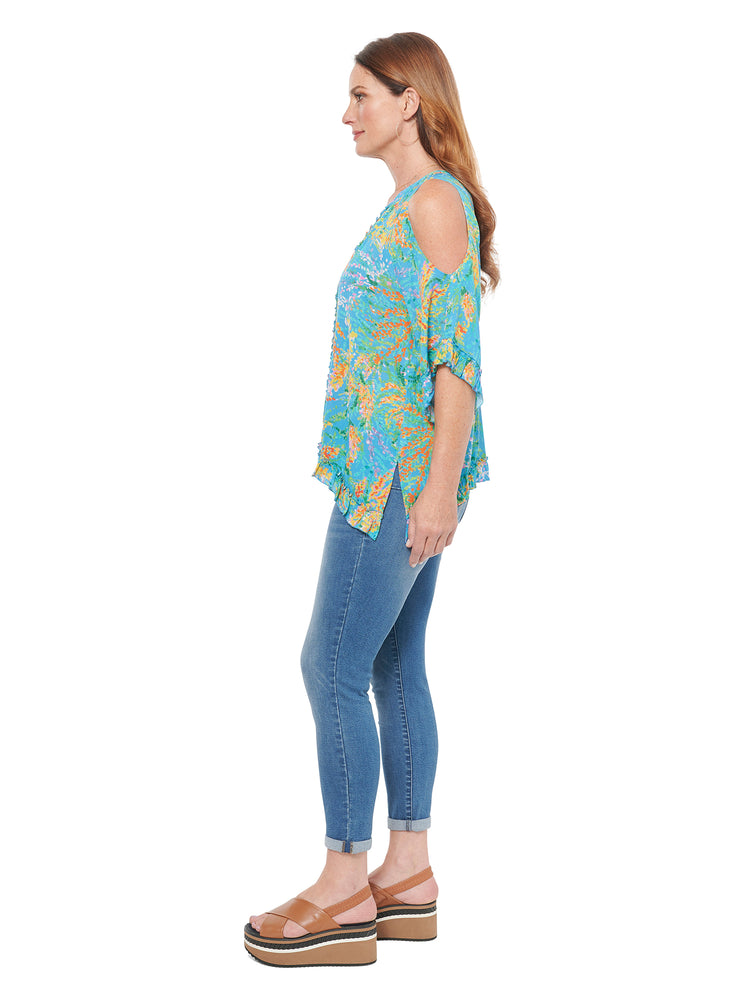 3/4 Cold Shoulder Sleeve East West Plus Top