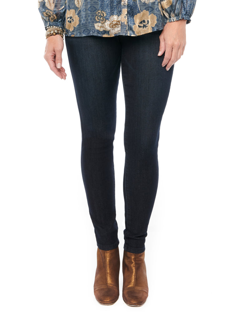 "Load image into Gallery viewer, Womens Tall 34"" Long Inseam Stretch Dark Indigo Denim ""Ab""solution Booty Lift Jeggings Skinny Jeans"