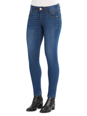 "Absolution Booty Lift Long 32"" Inseam Stretch Blue Denim Jegging Tall Jeggings Mid Rise Skinny Jeans for girls"