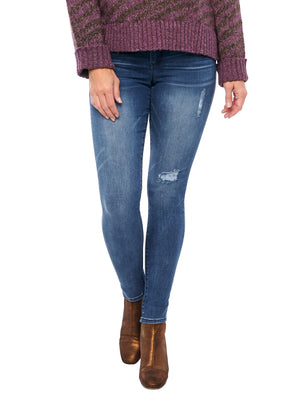 "Stretch Blue Luxe Touch Premium Distressed Denim ""Ab""solution Booty Lift Jegging Skinny Jeans butt lifting jeggings"