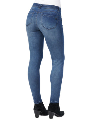 booty lift distressed stretch blue denim skinny jegging jeans