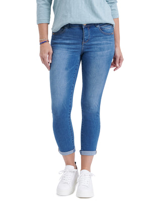 Absolution Booty Lift Blue Stretch Denim Ankle Skimmer Lycra Spandex Jeans