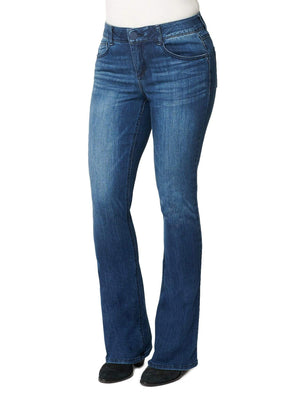 "Women's tall long 34"" inseam absolution itty bitty boot leg luxe touch premium stretch denim blue bootcut jeans"