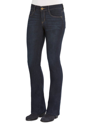 "Load image into Gallery viewer, ""Ab""solution® Itty Bitty Boot Leg Stretch Dark Indigo Denim Bootcut Jeans"