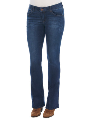"Womens tall jeans 34"" inseam absolution itty bitty boot leg stretch denim dark indigo wash bootcut long inseam jeans"