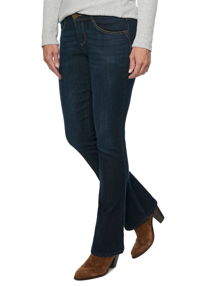 """Ab""solution Bootcut Stretch Dark Indigo Denim Itty Bitty Boot Leg Jeans"