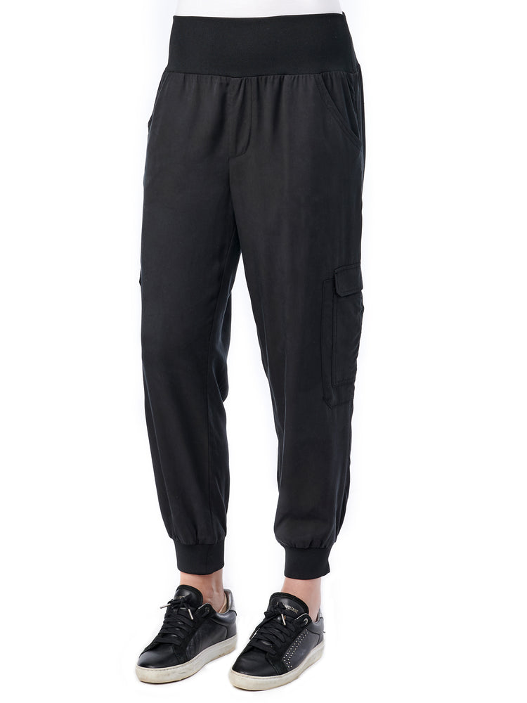 Womens Cargo Patch Pocket Utility Joggers Soft Stretch Black Loungewear Pants