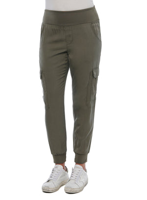 Womens Patch Cargo Pocket Utility Joggers Soft Stretch Olive Green Loungewear Pants