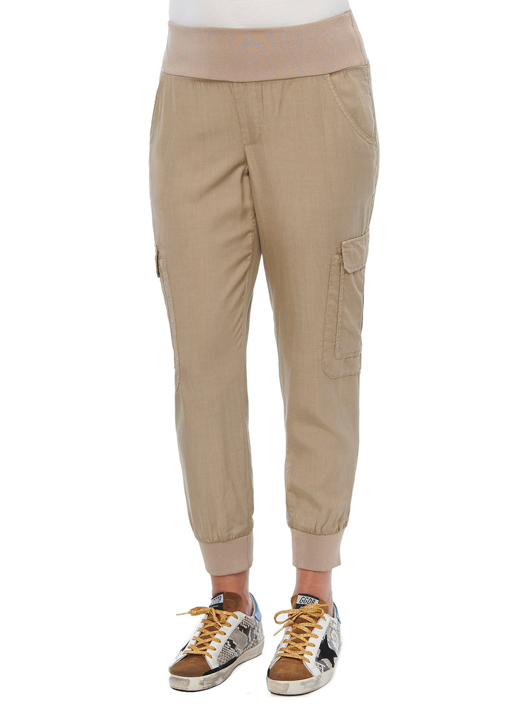 Womens Patch Cargo Pocket Utility Joggers Walnut Beige Soft Stretch Loungewear Pants