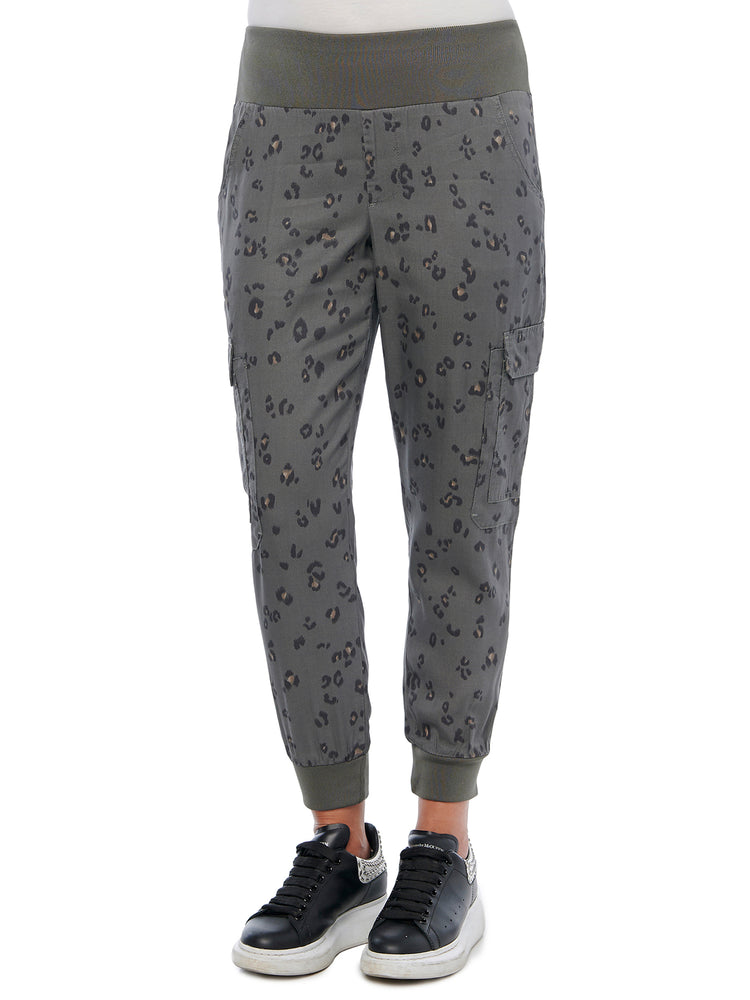 Animal Print Patch Cargo Pocket Utility Jogger