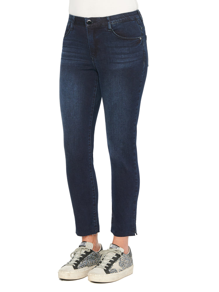 """Ab""solution High Rise Raw Hem Indigo Skinny Jeans"