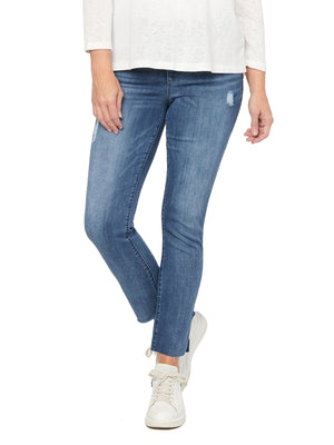 Absoution High Waisted Vintage Skinny Jeans Blue Wash Denim