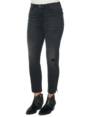 "Load image into Gallery viewer, ""Ab""solution High Rise Raw Hem Skinny Black Jeans"