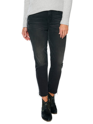"Load image into Gallery viewer, ""Ab""solution High Rise Raw Hem Stretch Black Denim Skinny Jeans"