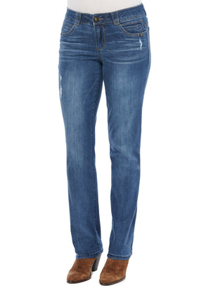 """Ab""solution Mid Rise Stretch Denim Destructed Blue Wash Straight Leg Tall Jeans Long 33"" Inseam"