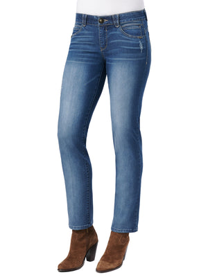 "Distressed Stretch Blue Denim ""Ab""solution Straight Leg Petite Women's Jeans"
