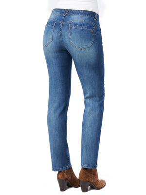 "Load image into Gallery viewer, Stretch Denim ""Ab""solution® Straight Leg Petite Jeans"