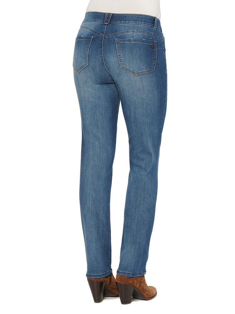 "Distressed Stretch Denim Medium Blue Wash ""Ab""solution Booty Lift Straight Leg Jeans"