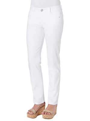 """Ab""solution Stretch White Denim Straight Leg Cut Petite Women's Jeans"