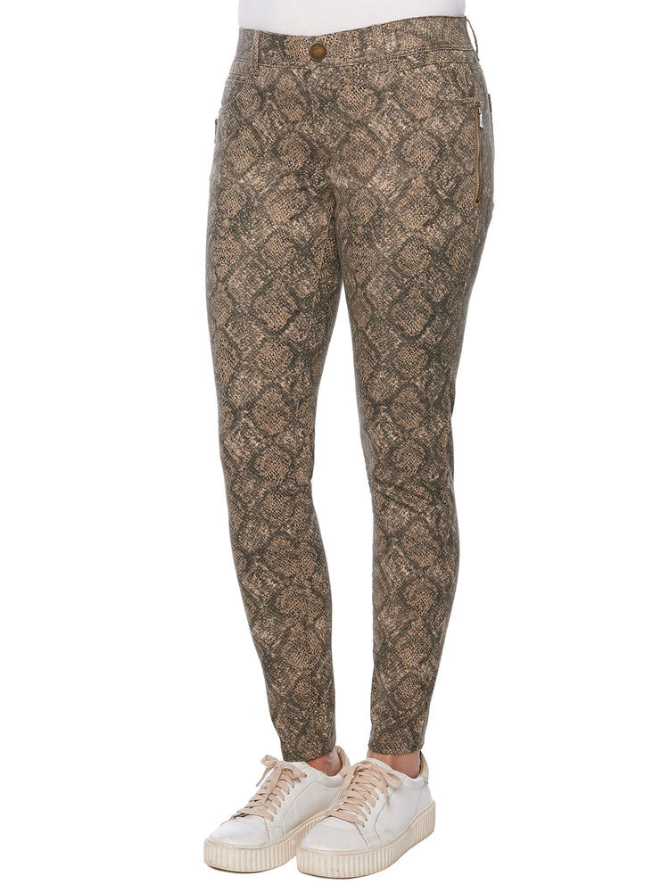 """Ab""solution Side Zip Taupe Snake Print Jegging"