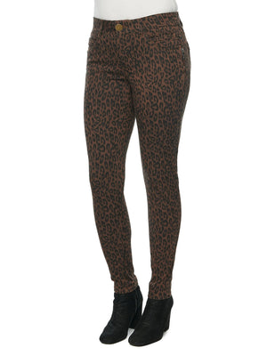 """Ab""solution Side Zip Leopard Animal Print Petite Colored Jegging"