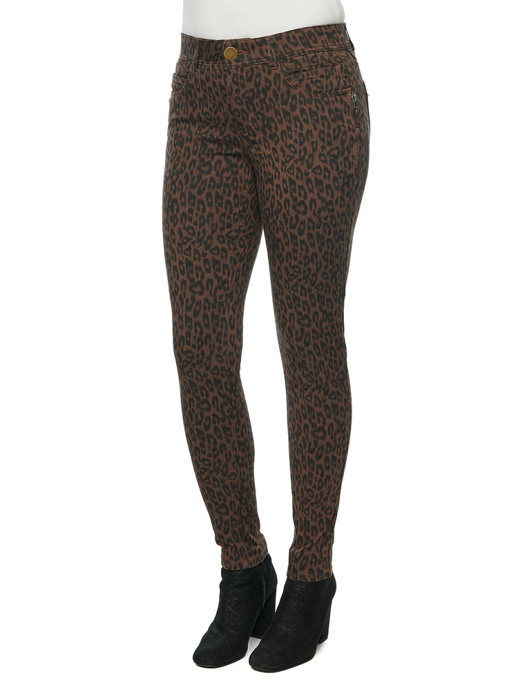 """Ab""solution Stretch Cotton Chocolate Leopard Print Side Zip Jegging Skinny Jeans"