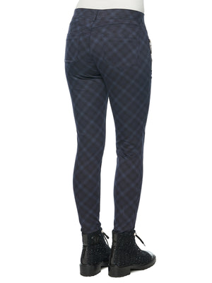 """Ab""solution Side Zip Navy Plaid Petite Jegging"
