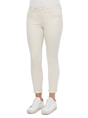 Absolution Booty Lift Jeans Ankle Length Skimmer Stretch Spandex Denim Blanched Almond White Denim Skinny Jean