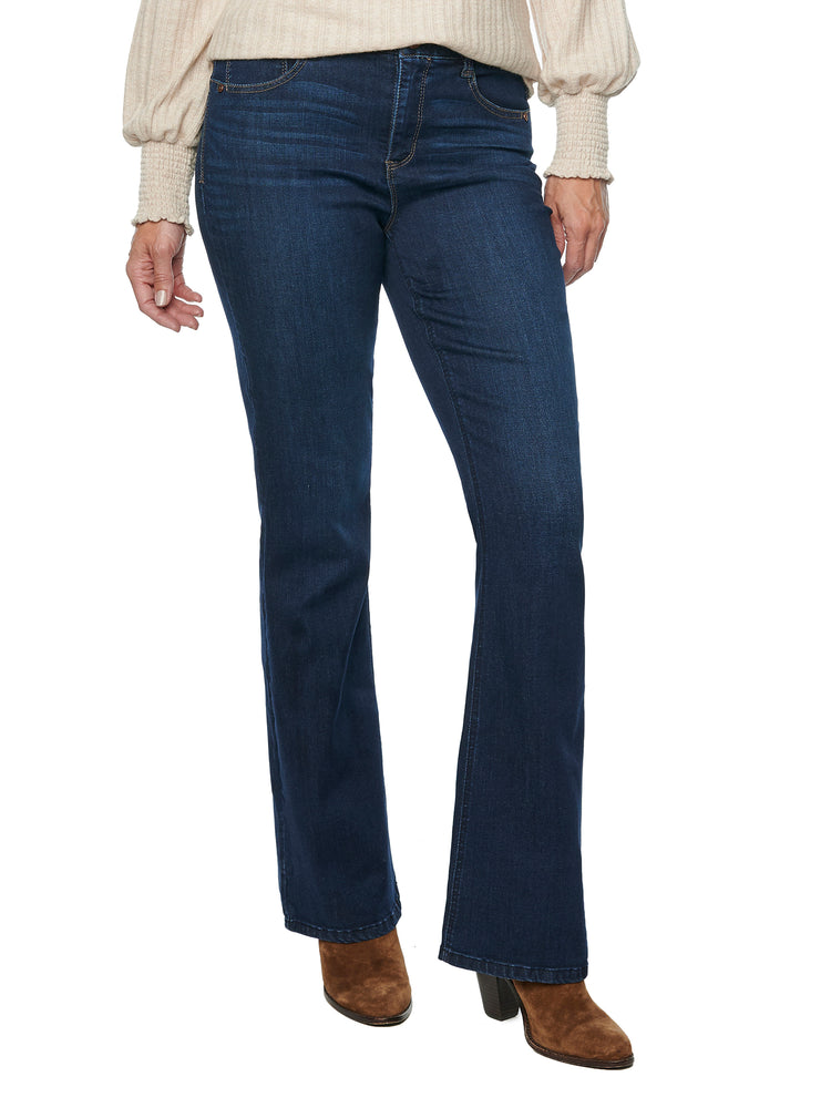 """Ab""solution High Rise Itty Bitty More Boot Stretch Denim Indigo Wash Bootcut Jean"