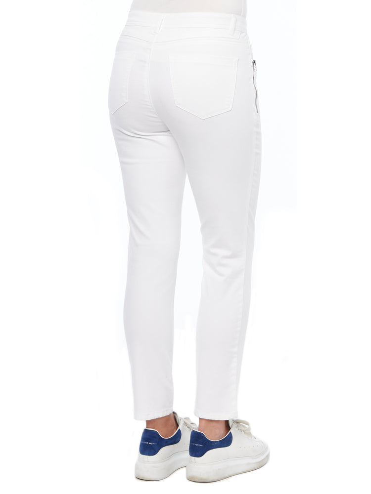 """Ab""solution Side Zip Skinny White Jean"