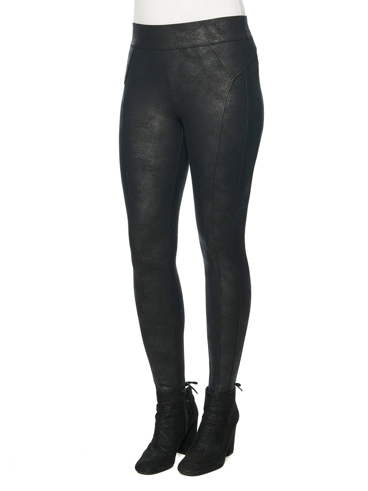 flattering slimming crackle coated glider black pull on leggings stretch ponte knit with spandex