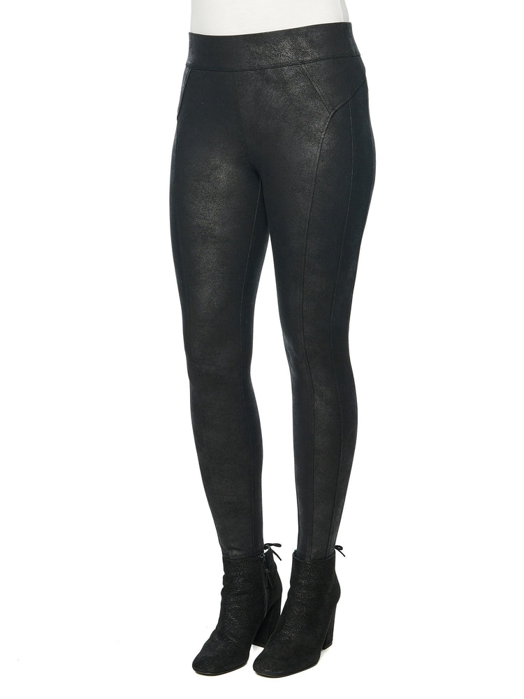 stretch ponte knit crackle coated glider black petite pull on leggings