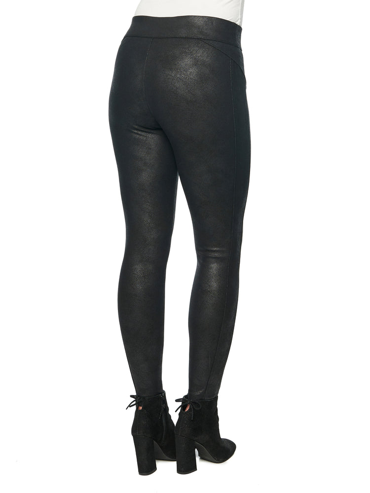 Load image into Gallery viewer, Crackle Coated Glider Black Leggings