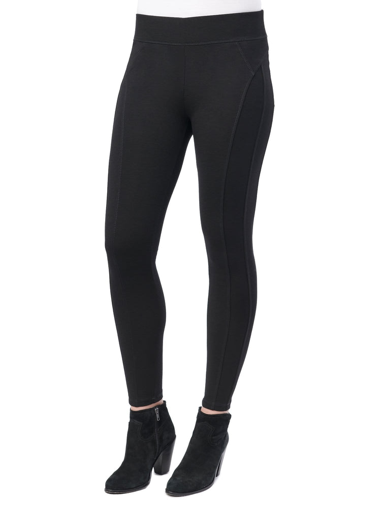 Black Stretch Ponte Knit Glider Legging